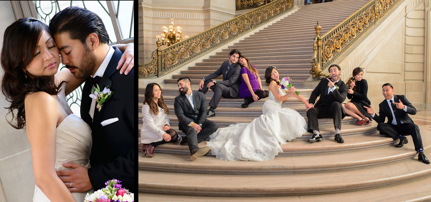 grand staircase in city hall bridal party photograph